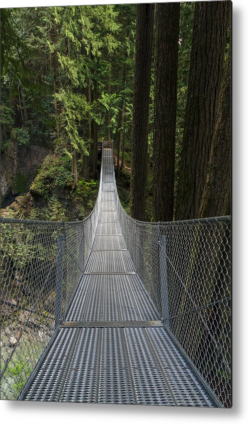Bridges Metal Print featuring the photograph Cascade Falls Suspension Bridge by Michael Russell