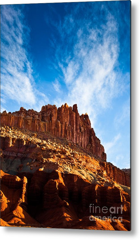 Clouds Metal Print featuring the photograph Castle In Morning Light by Irene Abdou