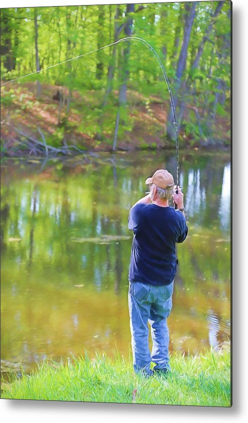 Fish Metal Print featuring the painting Catching Fish by Theresa Campbell