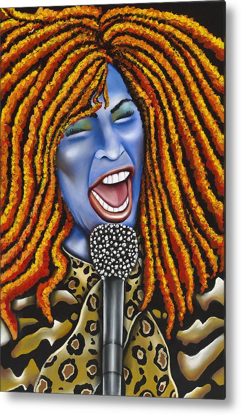 Portrait Metal Print featuring the painting Chaka by Nannette Harris