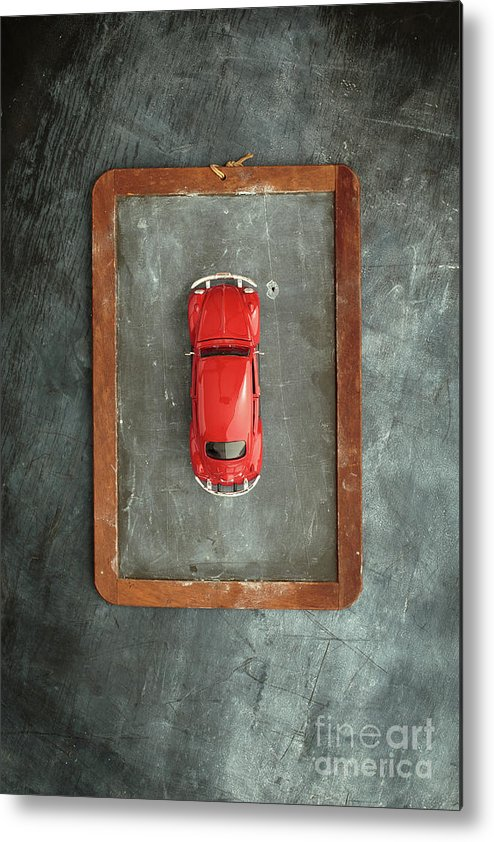 Slate Metal Print featuring the photograph Chalkboard Toy Car by Edward Fielding