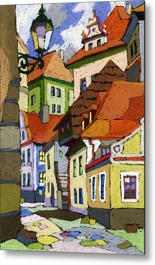 Pastel Metal Print featuring the painting Chesky Krumlov Masna Street 1 by Yuriy Shevchuk