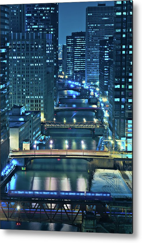Chicago Metal Print featuring the photograph Chicago Bridges by Steve Gadomski