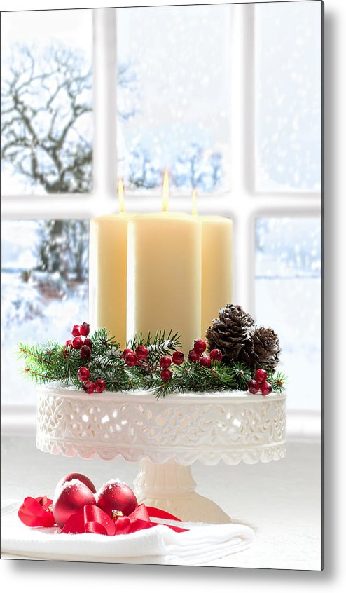 Christmas Metal Print featuring the photograph Christmas Candles Display by Amanda Elwell