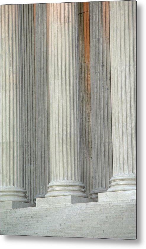Columns Metal Print featuring the photograph Closeup Of Columns Of Supreme Court by Kenneth Garrett