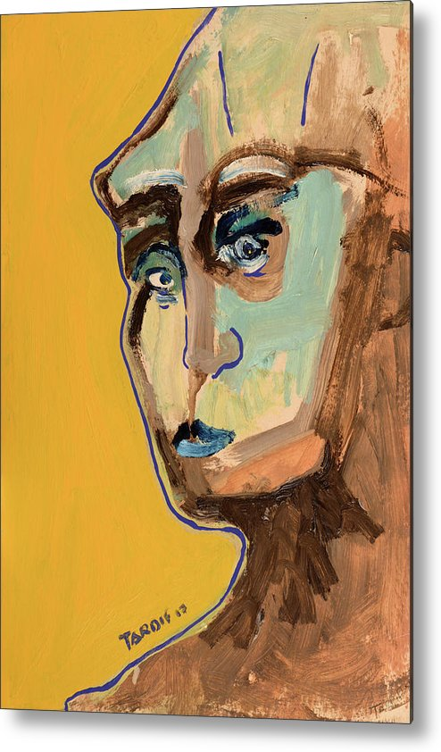 Portrait Metal Print featuring the painting Cloudy Look by Daniel Tardif