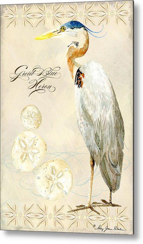 Watercolor Metal Print featuring the painting Coastal Waterways - Great Blue Heron by Audrey Jeanne Roberts