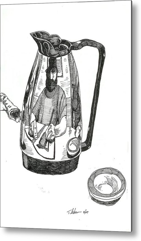Pen And Ink Metal Print featuring the drawing Coffee Pot by Tobey Anderson