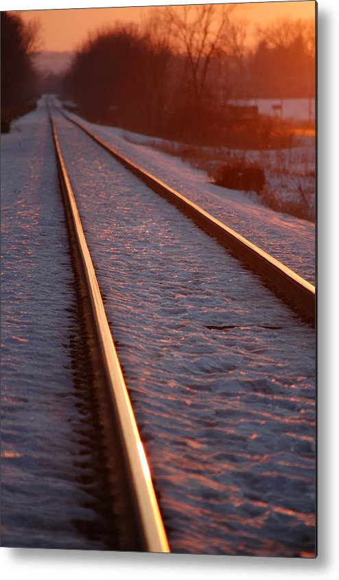 Railroda Metal Print featuring the photograph Cold Line Sunset by Jame Hayes
