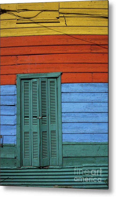 Buenos Aires Metal Print featuring the photograph Colourful Shutters La Boca Buenos Aires by James Brunker