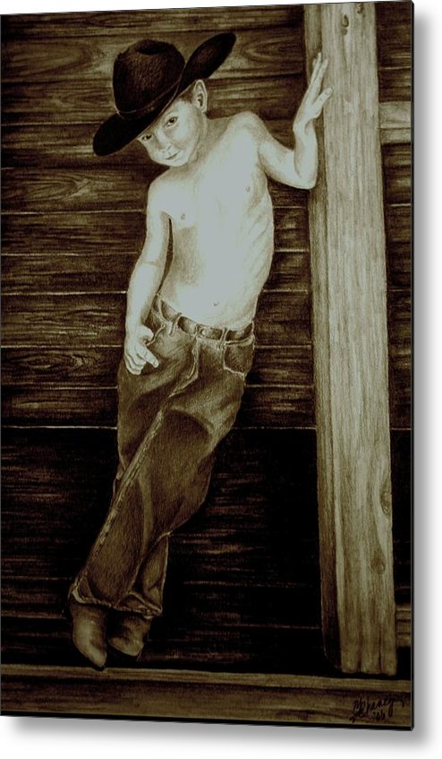 Cowboy Metal Print featuring the drawing Cowboy by Melissa Wiater Chaney