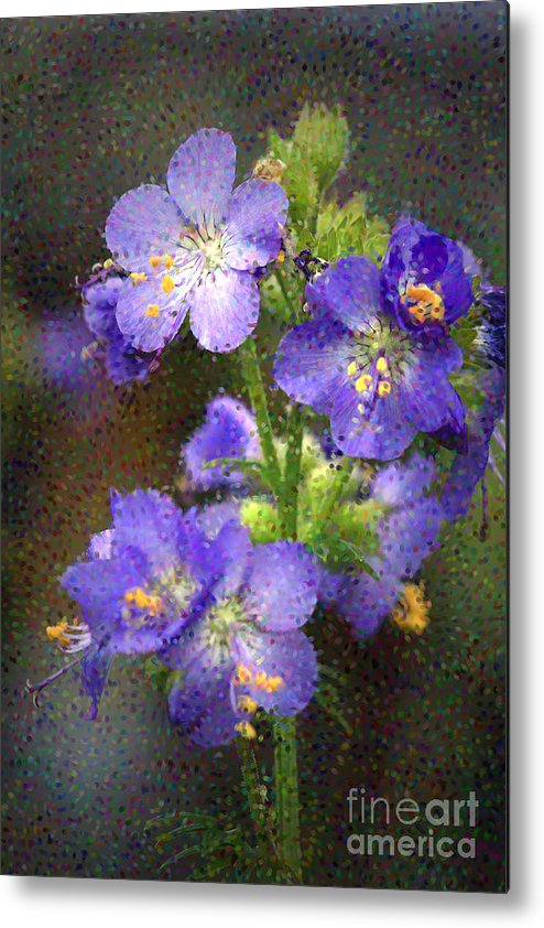 Flowers Metal Print featuring the photograph Craquelure On Blue by Deborah Benoit