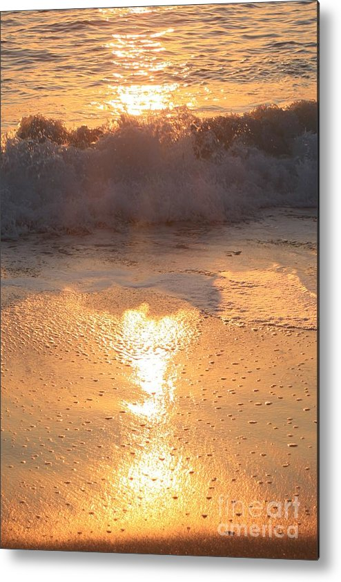 Waves Metal Print featuring the photograph Crashing Wave At Sunrise by Nadine Rippelmeyer