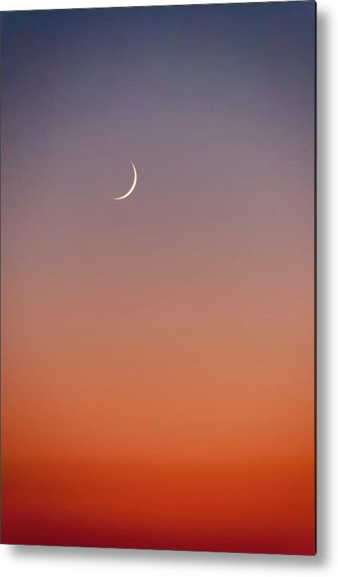 Crescent Moon At Sunset Colour Gradient Metal Print By Iordanis