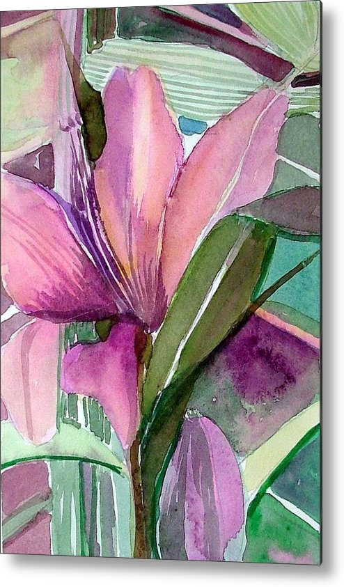 Flower Metal Print featuring the painting Day Lily Pink by Mindy Newman