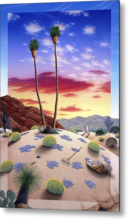 Desert Metal Print featuring the painting Desert Sunrise by Snake Jagger