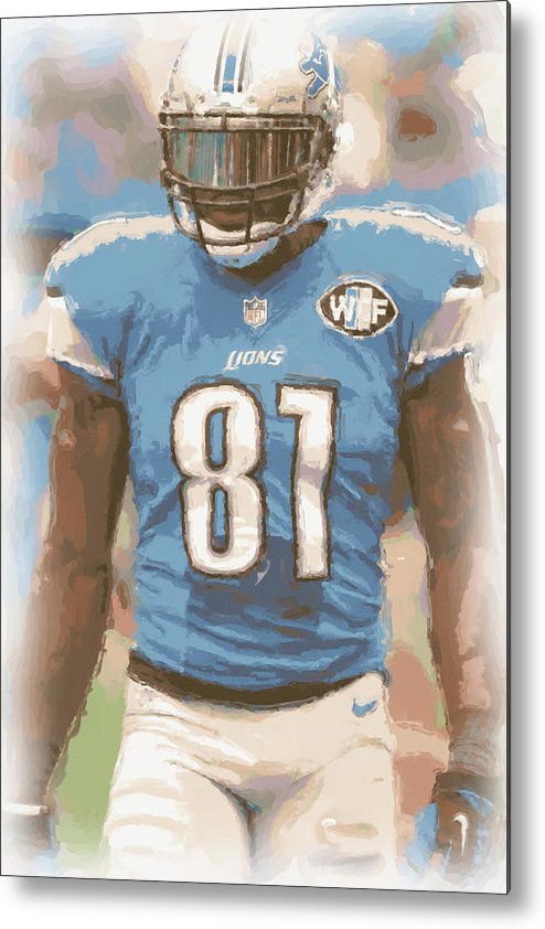 Detroit Lions Metal Print featuring the photograph Detroit Lions Calvin Johnson 1 by Joe Hamilton