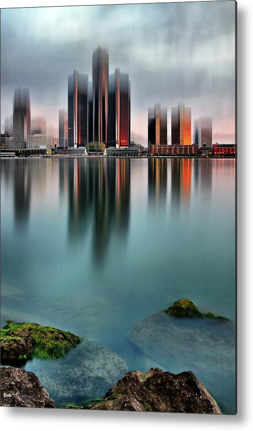 Detroit Metal Print featuring the photograph Detroit Sunrise by Andrzej Pradzynski