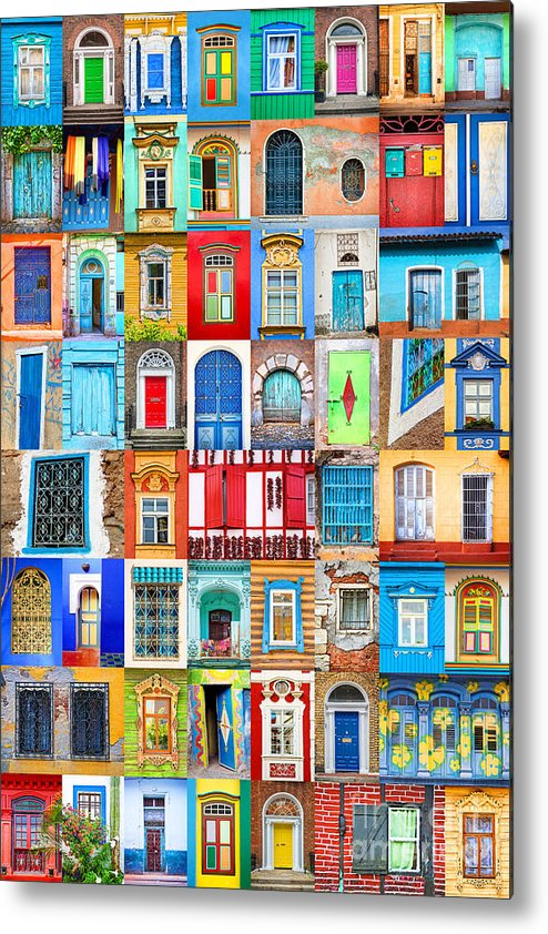 Doors Metal Print featuring the photograph Doors And Windows Of The World - Vertical by Delphimages Photo Creations