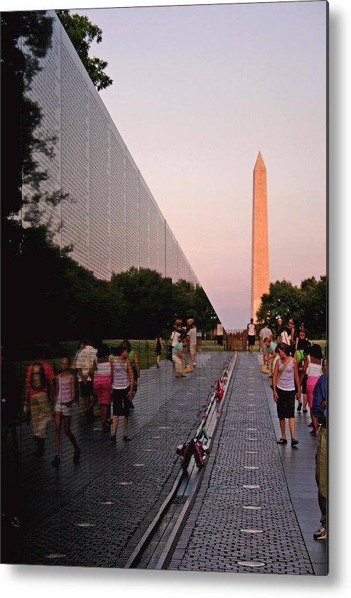 Viet Nam Veterans Memorial Metal Print featuring the photograph Dusk At The Viet Nam Veterans Memorial by Brian M Lumley