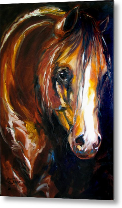 Horse Metal Print featuring the painting Ebony Night Equine by Marcia Baldwin