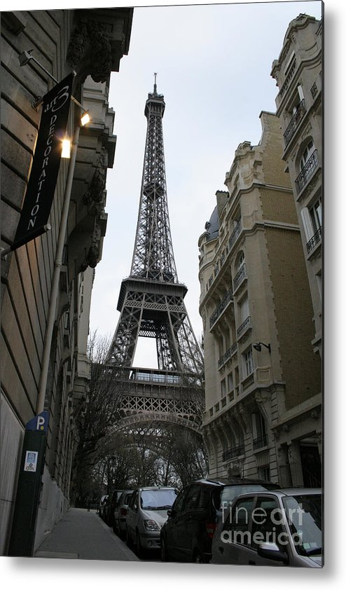 Eiffel Tower Metal Print featuring the photograph Eiffel Tower Through A Concrete Forest by Joshua Francia