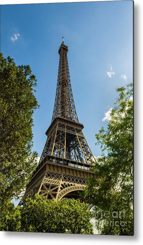 Abstract Metal Print featuring the photograph Eiffel Tower Through Trees by Paul Warburton