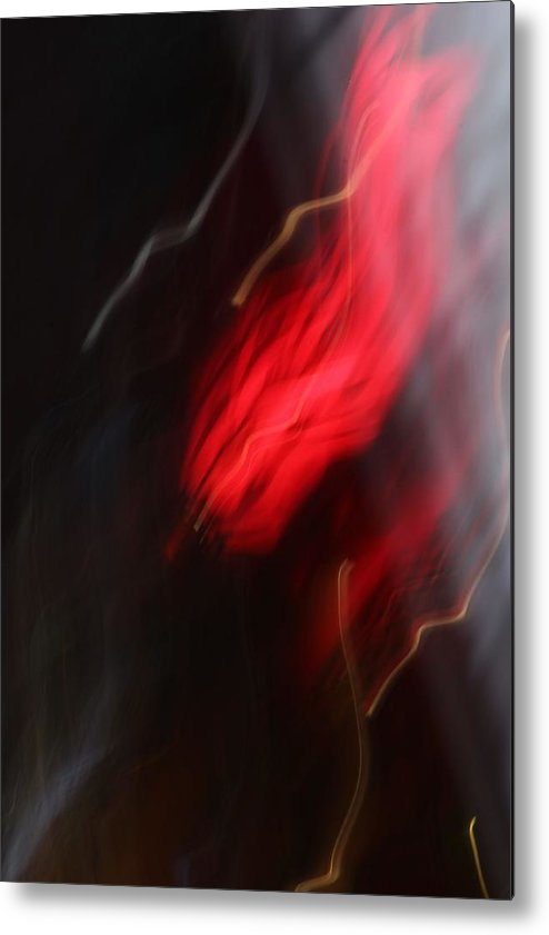 Abstract Photography Metal Print featuring the photograph Electric Red And Yellow by Karin Kohlmeier