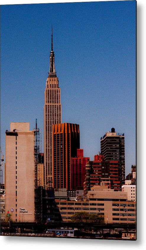 new York Nyc Building Skyline empire State Landscape River Cityscape Color Water Manhattan Metal Print featuring the photograph Empire State 2 by Arthur Sa