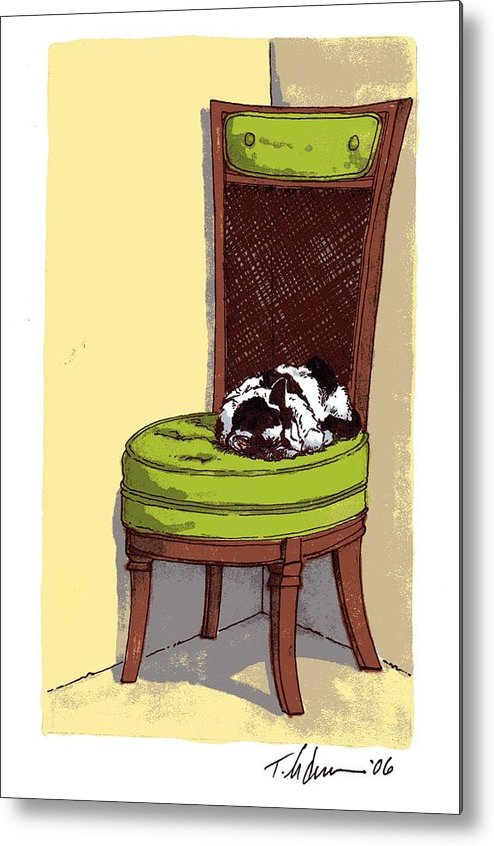 Cat Metal Print featuring the drawing Ernie And Green Chair by Tobey Anderson
