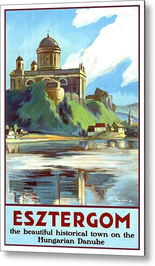 Esztergom Metal Print featuring the painting Esztergom, Beautiful City On Danube River, Hungary, by Long Shot