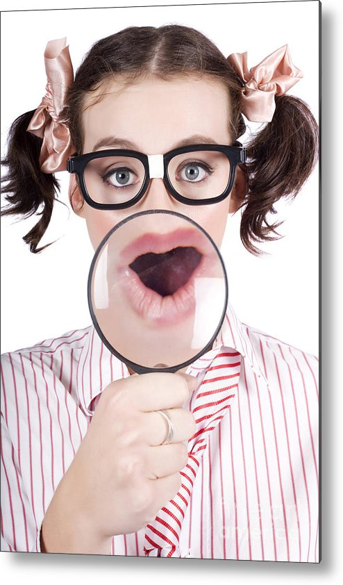 Adolescence Metal Print featuring the photograph Excited Nerd Girl With A Big Idea by Jorgo Photography - Wall Art Gallery
