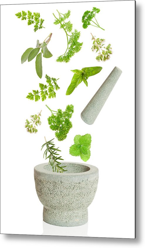Pestle Metal Print featuring the photograph Falling Herbs by Amanda Elwell