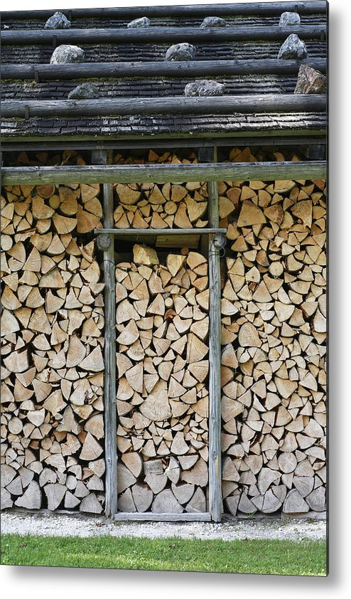Firewood Metal Print featuring the photograph Firewood Stack by Frank Tschakert