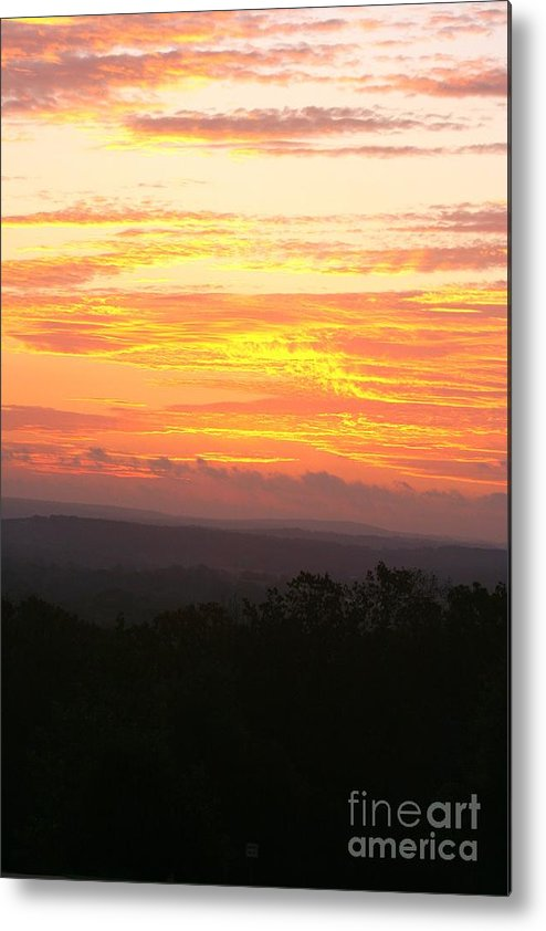 Sunrise Metal Print featuring the photograph Flaming Autumn Sunrise by Nadine Rippelmeyer