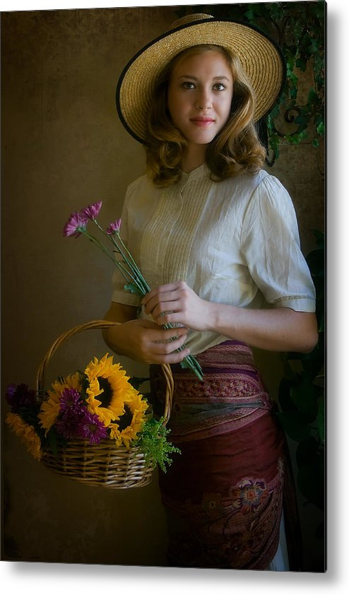 Portrait Metal Print featuring the photograph Flower Peddler by Jean Hildebrant