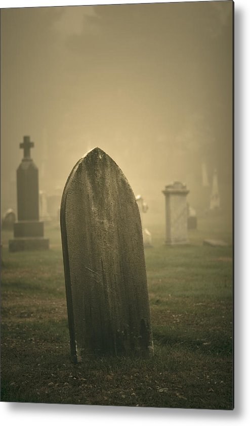 Jack Stock Metal Print featuring the photograph Foggy Gravestone by Jack Foley