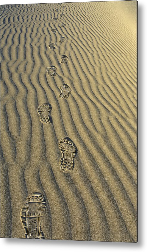 Footprints Metal Print featuring the photograph Footprints In The Sand by Joe Palermo