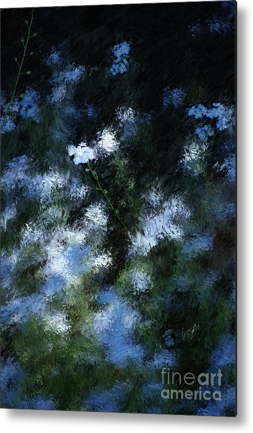 Abstract Metal Print featuring the digital art Forget Me Not by David Lane