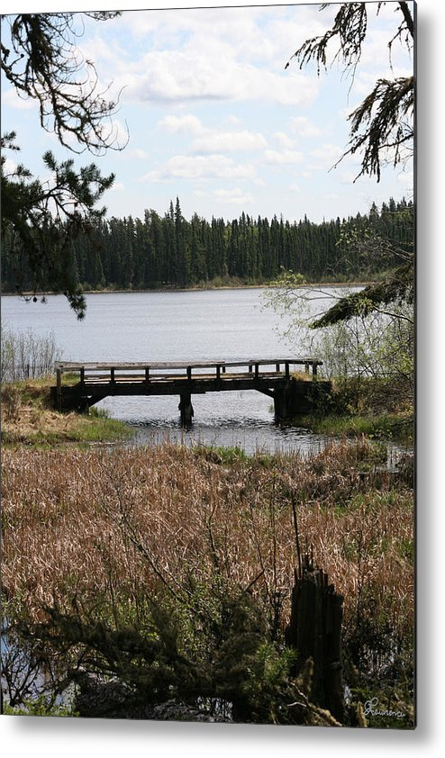 Lake Water Scenery Bridge Flooding Forest Nature Beauty Trees Metal Print featuring the photograph Forgotten by Andrea Lawrence