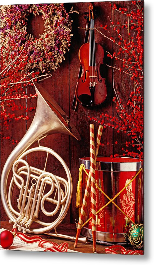 Violin Metal Print featuring the photograph French Horn Christmas Still Life by Garry Gay