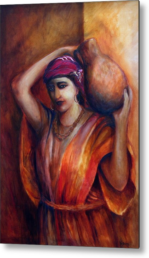 Rebekah Metal Print featuring the painting From The Well by Jun Jamosmos