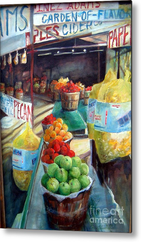 Fruit Metal Print featuring the painting Fruitstand Rhythms by Linda Shackelford