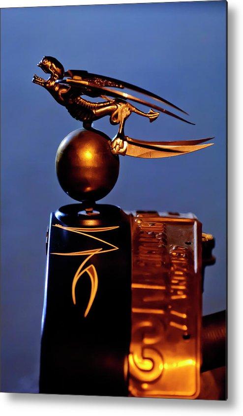 Gargoyle Metal Print featuring the photograph Gargoyle Hood Ornament 3 by Jill Reger