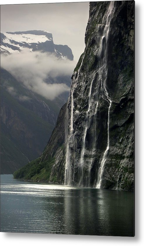 Vertical Metal Print featuring the photograph Geiranger Fjord, Norway by Chris Hopkins