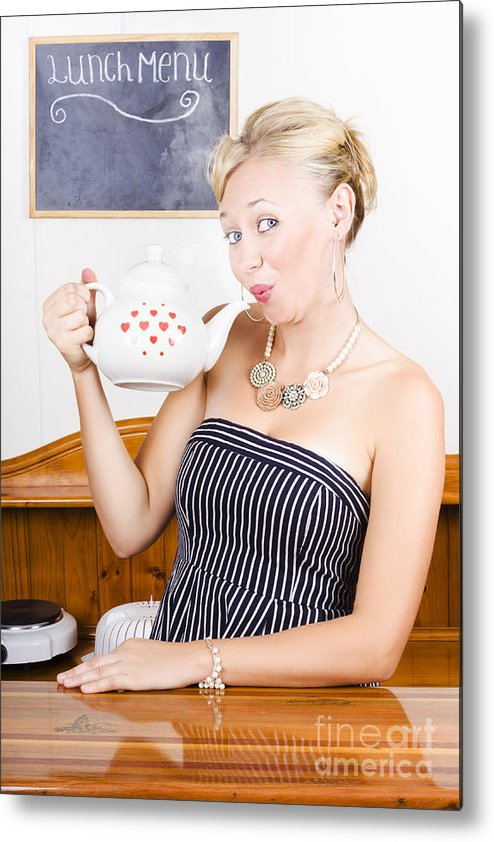Caffeine Metal Print featuring the photograph Girl In Cafe Serving Hot Coffee With Heart Teapot by Jorgo Photography - Wall Art Gallery