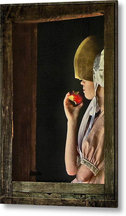 Portraits Metal Print featuring the photograph Girl With Apple by John Anderson
