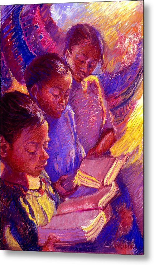 Girls Metal Print featuring the painting Girls Reading by Ellen Dreibelbis