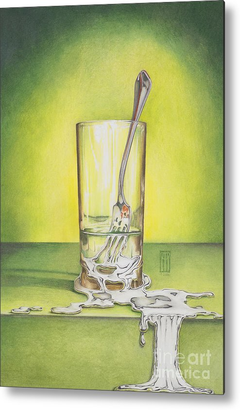 Bizarre Metal Print featuring the painting Glass With Melting Fork by Melissa A Benson