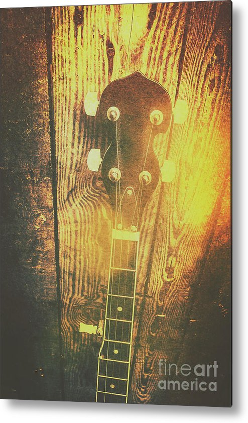 Banjo Metal Print featuring the photograph Golden Banjo Neck In Retro Folk Style by Jorgo Photography - Wall Art Gallery